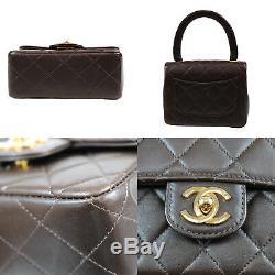 Chanel Matelassé Matelasse Parent / Enfant Sac Brun Cuir Vintage Auth #O675 W