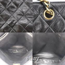 Chanel Matelassé Matelasse Sac Bandoulière Cuir Noir Vintage Authentic #BB986 I