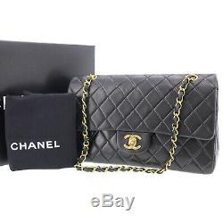 Chanel Matelassé Matelasse Sac Bandoulière Cuir Noir Vintage France Auth #ZZ16 W