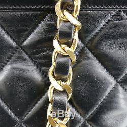 Chanel Matelassé Matelasse Sac à Bandoulière Cuir Noir Vintage Authentique #U178