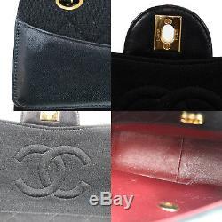 Chanel Matelassé Matelasse Sac à Bandoulière Noir Toile Cuir Vintage