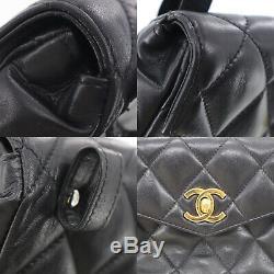 Chanel Matelasse Sac Banane Noir Agneau Cuir Vintage Italie Authentique #ZZ63 W