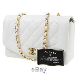 Chanel Matelasse Sac à Bandoulière Blanc Caviar Peau Vintage France Authentique