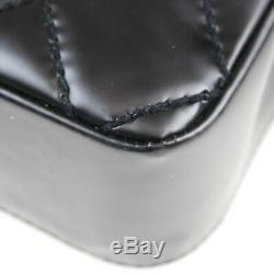 Chanel Matelassé Sauvage Couture Sac à Bandoulière Noir Cuir Enduit Vintage