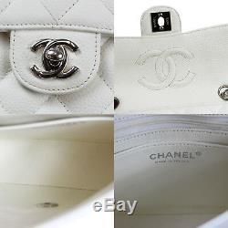 Chanel Mini Matelasse Matelassé Épaule Sac Blanc Caviar Peau Vintage Auth #P554