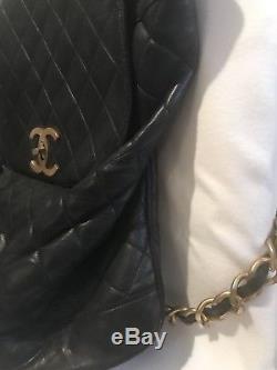 Chanel Vintage Rucksack/ Sac-a-dos. Des Année 80/90. Noir/ Black