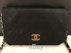 Chanel Wallet On Chain Black / Noir Bag / Sac Cuir / Leather Vintage Authentique