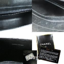 Chanel cc Chaîne Serpent Épaule Sac Cuir Verni Noir Vintage Authentique #Z115