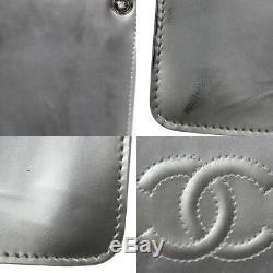 Chanel cc Logos Chaîne Épaule Sac Pochette Argent Cuir Verni Vintage