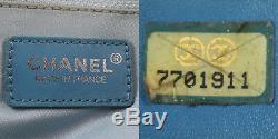 Chanel cc Logos Neuf Voyage Évasé Sac Fourre-Tout Bleu Fil Nylon Cuir Vintage