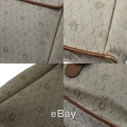 Christian Dior Honeycombo Main Sac Beige Cuir Toile Vintage Authentique #AA630 W