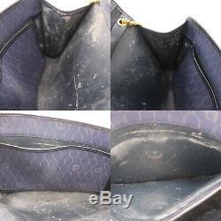 Christian Dior Miel Combo Chaîne Sac Bandoulière Marine PVC Vintage Auth #BB505