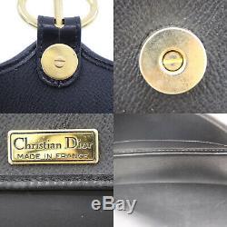 Christian Dior Miel Combo Sac à Bandoulière Noir PVC Vintage France Auth #U620 I