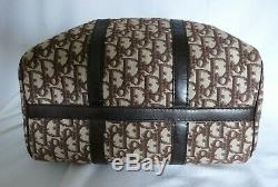Christian Dior Trotter Boston Sac A Mains Vintage Cuir Et Toile Bagage