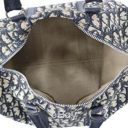 Christian Dior Trotter Boston Sac à Main Marine Cuir Toile Vintage Authentiques