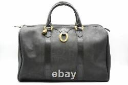 Christian Dior Vintage Boston Sac à Main Voyage Unisexe Cuir PVC Noir 4751h