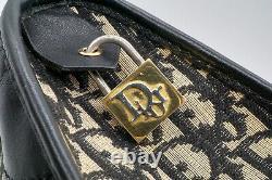 Christian Dior Vintage Trotter Sac à Main Boston Toile Classique Noir 2872h