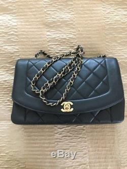 Classic Sac Chanel Timeless Vintage Noir Cuir Agneau Plonge 25 X18,5