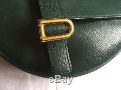 Delvaux Createur Vintage 1988 Superbe Sac Bandouliere Cuir Vert Tres Bon Etat
