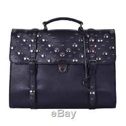 Dolce & Gabbana Vintage Messenger Sac Sac à Dos avec Rivets Noir 06267