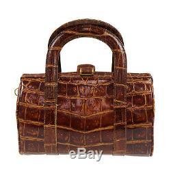 Fendi Boston Bandoulière Sac Brun Gaufrage Cuir Vintage Authentique # Z441