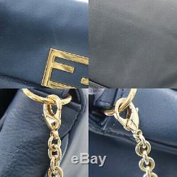 Fendi Logo Chaîne Sac Bandoulière Cuir Italie Vintage Authentique #BB152 W