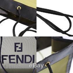 Fendi Logos Main Fourre-Tout Sac Noir Kaki Maille Cuir Vintage Authentiques