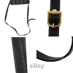 Fendi Pequin Rayé Sac Bandoulière Marron Noir PVC Cuir Vintage Auth #EE545 I