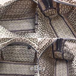 Fendi Zucca Motif Sac Bandoulière Marron Cuir Toile Vintage Authentique #BB351 I