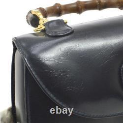 GUCCI Bambou Ligne 2way Main Sac Cuir Noir Italie Vintage Authentique AK36850h