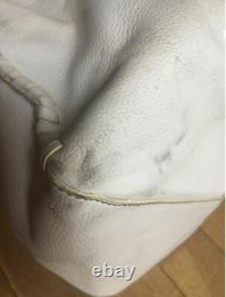 GUCCI Grand Sac Seau Cuir Blanc Poignee A REPARER Vintage