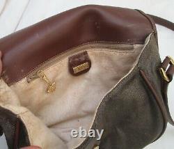 GUCCI authentique sac à main bandoulière en cuir et toile vintage bag