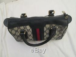 GUCCI authentique sac à main en cuir et toile vintage bag