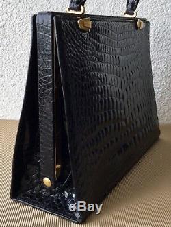 Grand Sac À Main En Cuir Vernis Noir Croco Vintage. État Parfait. Au Pacha Nevers