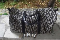 Grand sac de voyage à main Christian DIOR monogrammé bleu vintage bag