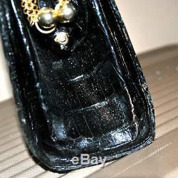 Grand sac noir VINTAGE en Crocodile Véritable Années 1970 Maroquinerie Italie