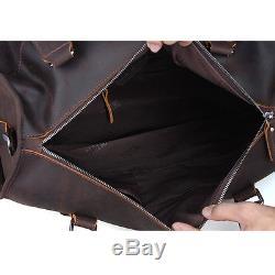 Grande capacité cuir vintage bagages Sac à bandoulière Marron Sac de Voyage