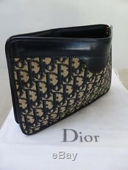 Grande pochette cuir & toile monogram CHRISTIAN DIOR vintage bag sac clutch