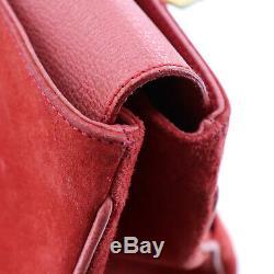 Gucci Bambou Main Fourre-Tout Sac Rouge Cuir Daim Italie Vintage Authentique #