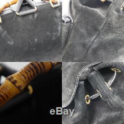 Gucci Bambou Sac à Dos Sac à Main Noir Cuir Daim Vintage Authentique #AA661 W