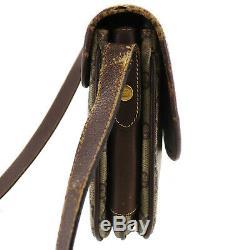 Gucci Gg Grande Sac à Bandoulière Marron Cuir PVC Vintage Italie Authentique #