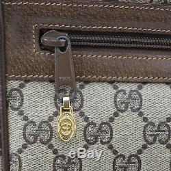 Gucci Gg Grande Toile Rayure Épaule Sac Brun Cuir PVC Vintage Authentiques #BB98