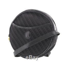 Gucci Gg Logos Sac Bandoulière Noir Cuir Toile Vintage Authentique #DD656 O