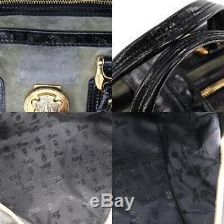 Gucci Logo Sac à Main Kaki Daim Noir Émail Italie Vintage Authentique #Y740 W