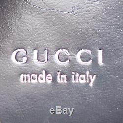 Gucci Logos Sac à Bandoulière Cuir Noir Vintage Italie Authentique #Y55 Z