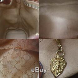 Gucci Micro Petit Gg Sac Bandoulière Marron Clair Cuir PVC Vintage Auth #BB625 I