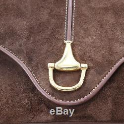 Gucci Sac Bandoulière Marron Cuir Daim Vintage Italie Authentique #BB548 W