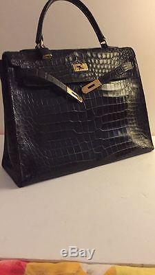 95ac247248 Hermes Sac Kelly 35 Vintage Crocodile Noir Magnifique! Prix Exceptionnel