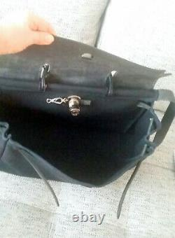 HERMES Sac Herbag Toile et Cuir HERMES BAG Black Canvas Black Leather