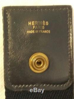 HERMES TSAKO Sac Vintage Authentique en Cuir Bleu Marine